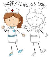 Doodle personagem enfermeira no fundo branco