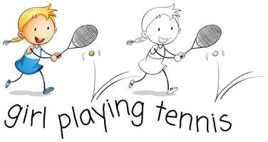 Garota feliz jogando tênis vetor
