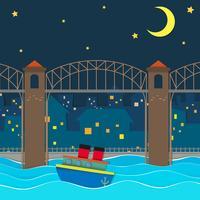 Barco flutuando sob a ponte à noite vetor