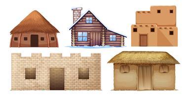 Conjunto de diferentes casas de cultura vetor