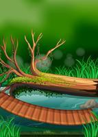 Cena rio, com, ponte madeira vetor