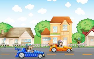 Dois, crianças, em, carro correndo, dirigindo, em, vizinhança vetor