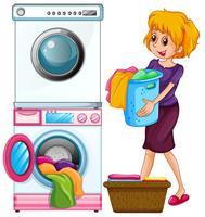 Mulher, fazendo lavanderia, branco, fundo vetor