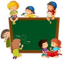 Crianças, ligado, chalkboard, modelo vetor