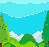 Cena da natureza com árvores e montanhas vetor