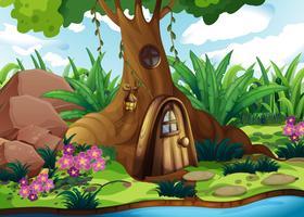 Uma casa na árvore na floresta vetor