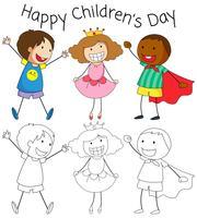 Doodle gráfico de dia de crianças