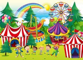 Crianças, tocando, circo vetor