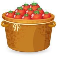 Uma cesta de tomate vermelho vetor