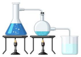 Experimente com produtos químicos sendo queimados