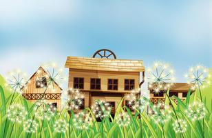 Três tipos de casas de madeira vetor