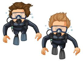 Dois, mergulhadores scuba, em, wetsuit vetor