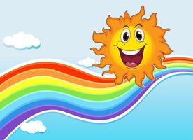 Um sol sorridente perto do arco-íris vetor
