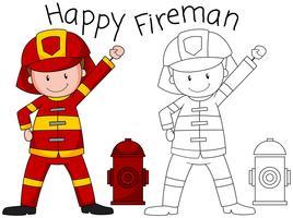 Personagem de bombeiro feliz Doodle