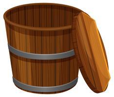 balde de madeira com tampa vetor