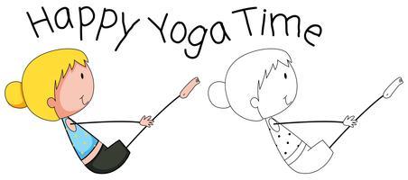 Doodle garota feliz fazendo yoga vetor