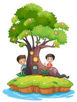 Dois garotos na parte de trás da casa da árvore encantada vetor