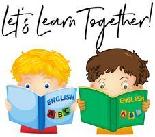 Meninos lendo livro com frase vamos aprender juntos vetor