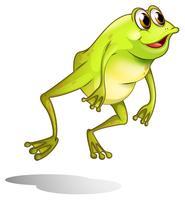 Um sapo verde pulando