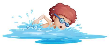 Um menino nadando no mar vetor