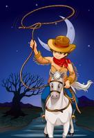 Um, boiadeiro, segurando, um, corda, enquanto, montando, um, cavalo vetor