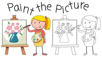Doodle artista pintando imagens