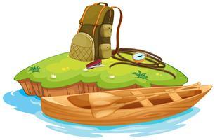 vaious objetos para acampar e uma canoa vetor