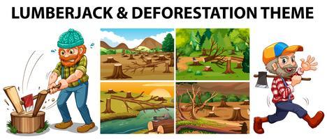 Lenhador e cenas de desmatamento vetor