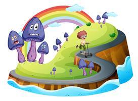 Um, menino, tocando, com, seu, scooter, estrada, cercado, com, cogumelo, plantas vetor