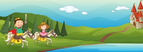 crianças e cavalo vetor