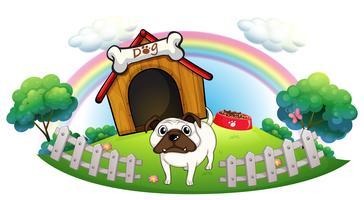 Um cachorro com uma casa de cachorro