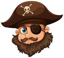 Pirata usando chapéu e tapa-olho vetor