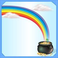 Um arco-íris e o pote de moedas vetor