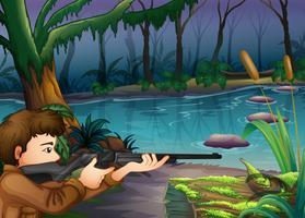 Um caçador perto do rio vetor