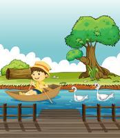 Um, menino, montando, um barco, seguido, por, patos vetor
