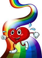 Um coração andando acima do arco-íris vetor