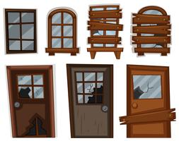 Portas e janelas em mau estado vetor