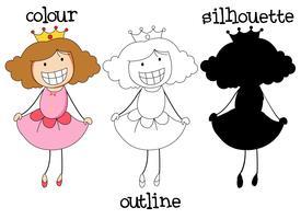 Estilo gráfico diferente de príncipes do doodle vetor