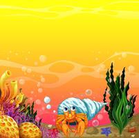 Uma concha sob o mar vetor