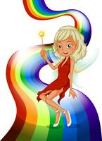 Um arco-íris com uma linda fada vetor