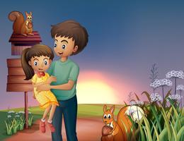 Pai, carregar, seu, filha, em, a, hilltop vetor