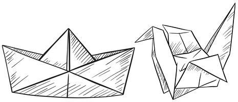 Origami de papel para barco e pássaro vetor
