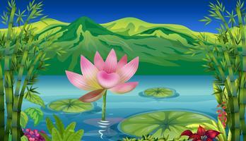 Um lago e uma bela paisagem vetor