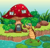 Uma barata dançando na frente de uma casa de cogumelo vetor