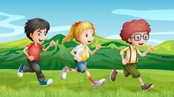 Crianças correndo pelas colinas vetor