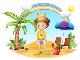 Um, criança jovem, com, seu, brinquedos, perto, a, coqueiro vetor