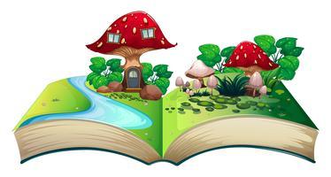 Livro pop-up de cogumelo vetor