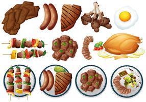 Diferentes tipos de comida grelhada vetor