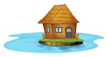 Uma ilha com uma pequena casa vetor