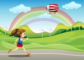 Uma garota correndo na estrada e uma aeronave acima dela vetor